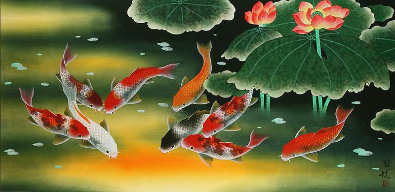 Large Koi Fish and Peony Flower Painting