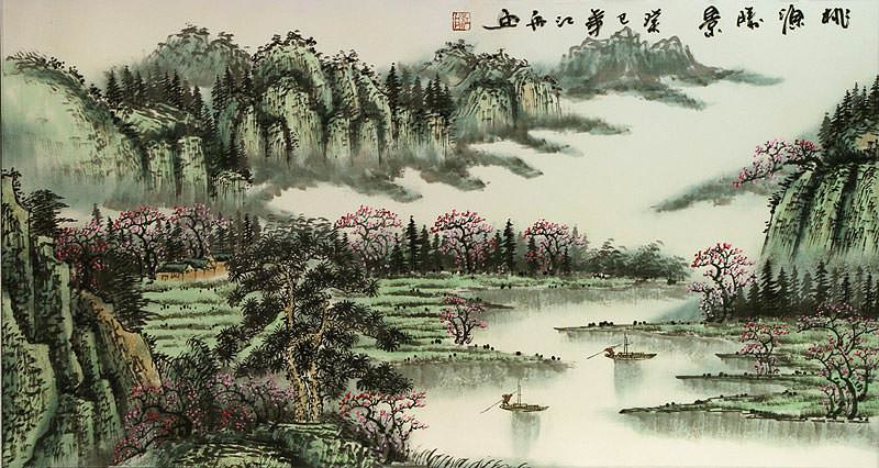 Chinese Green Landscape Painting