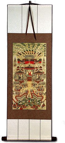 Buddhist Paradise Altar Print - Wall Scroll