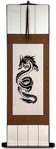 Black Dragon Print<br>Asian Wall Scroll