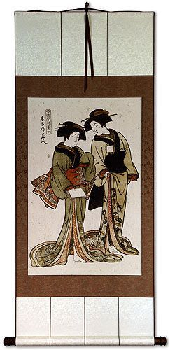 Beauties of the East<br>Japanese Woodblock Print Repro<br>Large Wall Scroll