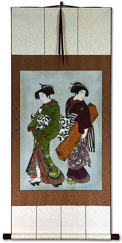 Beauties of the East Japanese Woodblock Repro Print Wall Scroll