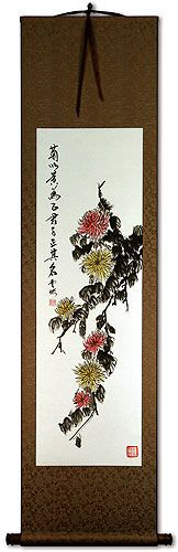 Chrysanthemum Flower Wall Scroll