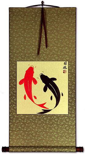 Antique-Style Yin Yang Fish Wall Scroll