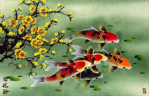 Koi Fish & Plum Blossom Painting