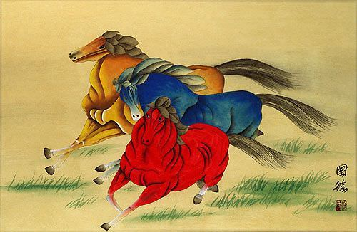 Abstract Galloping Horses<br>Chinese Watercolor Painting