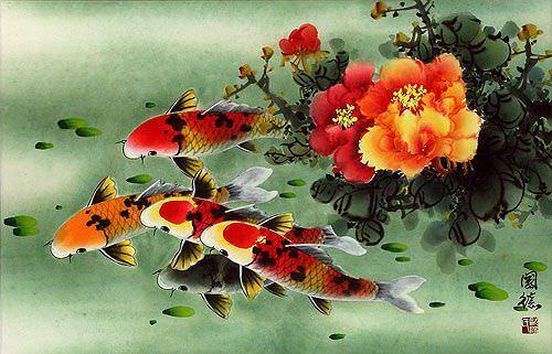 Koi Fish & Peony Flowers Painting
