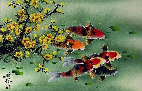 "See how ""Plum Blossom & Koi Fish Painting"" would look after being professionally framed"