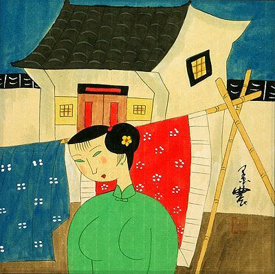 Asian Woman Hanging Laundry<br>Modern Asian Art Painting