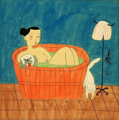 Chinese Lady in the Bath with Cat and Dog - Asian Modern Art Painting