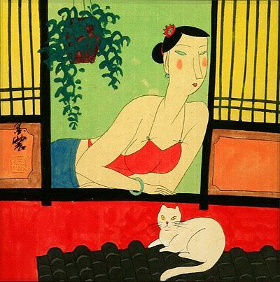 Asian Woman and Cat - Chinese Modern Art Painting