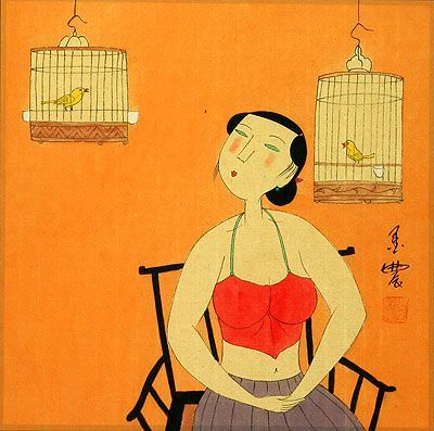 Chinese Woman and Bird Cages<br>Modern Art Painting