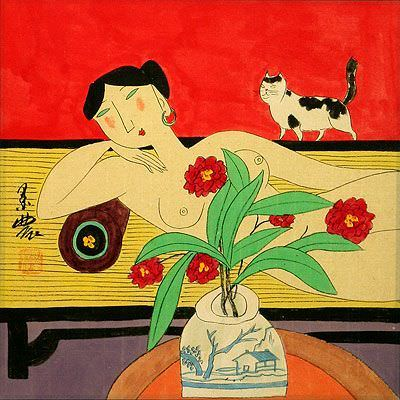 Nude Asian Woman on Bed with Cat<br>Modern Art Painting