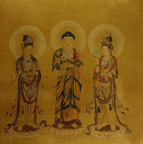 Large Antique-Style Three Buddhas Painting