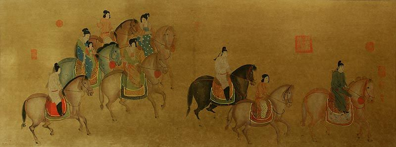 Tang Dynasty Horseback Ride - Large Antique-Style Print
