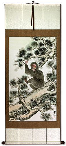 Monkey in Pine Tree<br>Asian Wall Scroll