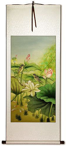 Little Birds and Beautiful Lotus Wall Scroll
