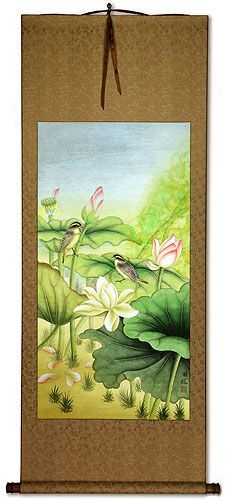Asian Birds and Lotus Wall Scroll