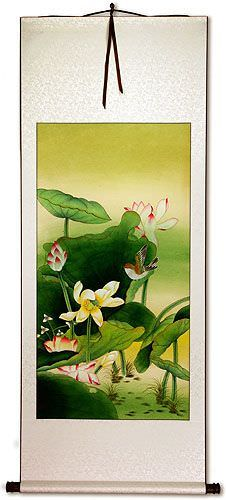 Gongbi Birds and Lotus Chinese Wall Scroll