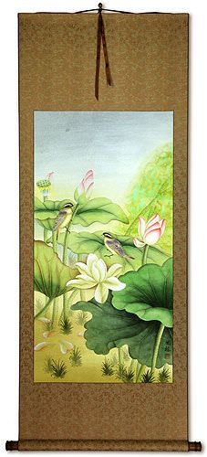 Beautiful Lotus and Little Birds Wall Scroll