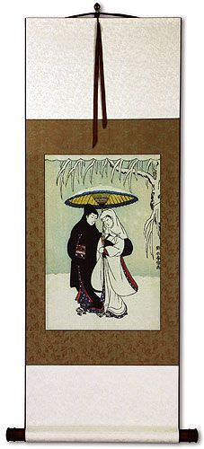 Lovers in the Snow - Japanese Woodblock Print Repro - Wall Scroll