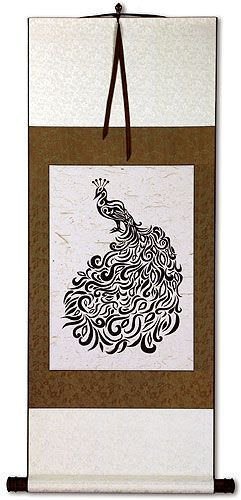 Abstract Peacock Black Ink Print Wall Scroll
