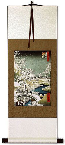 Bridge Landscape - Japanese Woodblock Print Repro - Wall Scroll