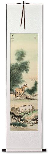 Chinese Horses Wall Scroll