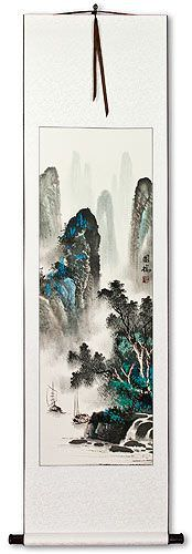 Chinese River Sailboat Landscape Wall Scroll
