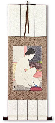 Nude Woman at the Bath - Japanese Print Repro - Wall Scroll