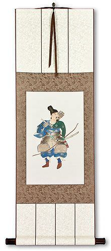 Japanese Archer Warrior Silk Wall Scroll