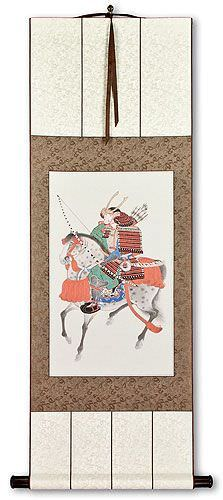 Samurai on Horseback<br>Japanese Print Repro<br>Silk Wall Scroll