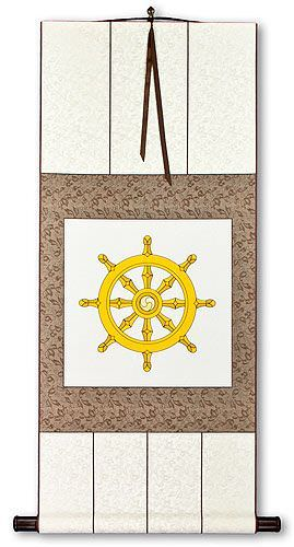 Wheel of Buddhism Symbol Print - Wall Scroll