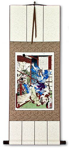 Samurai in Battle<br>Japanese Woodblock Print Repro<br>Wall Scroll