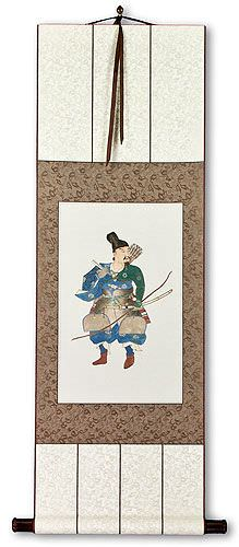 Japanese Archer Samurai Silk Wall Scroll