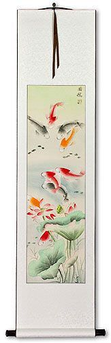 Koi Fish & Lotus Flower<br>Chinese Wall Scroll