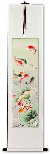 Koi Fish & Lotus Flower<br>Asian Wall Scroll