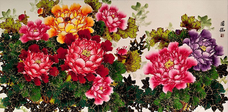 "See how ""Colorful Peony Flowers Painting"" would look after being professionally framed"