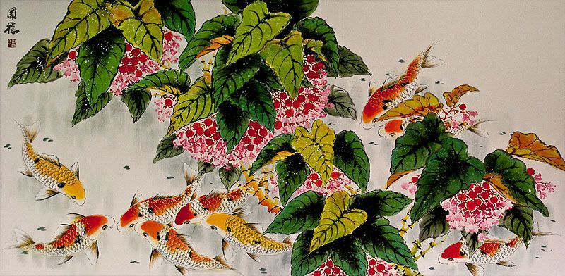 Koi Fish Feeding<br>Large Asian Painting