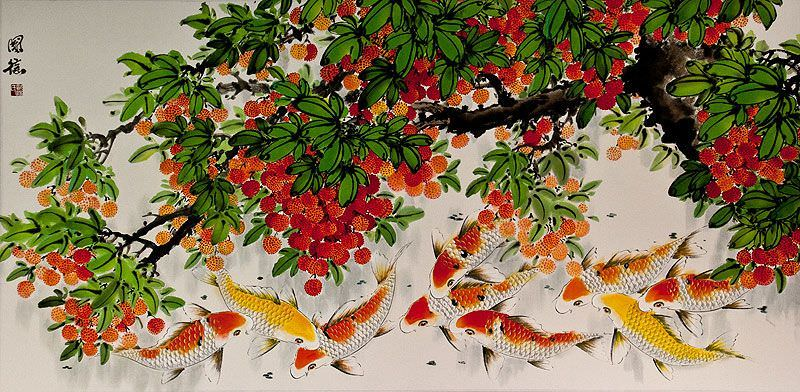 Large Koi Fish and Lychee Fruit Painting