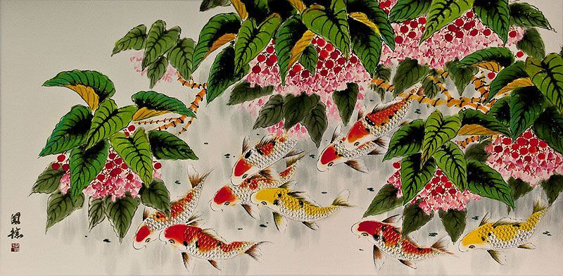Koi Fish Feeding<br>Large Chinese Painting