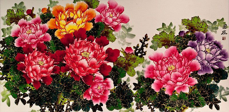 Large Asian Peony Flowers Painting