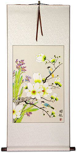 Bird & Flower Painting on Wall Scroll