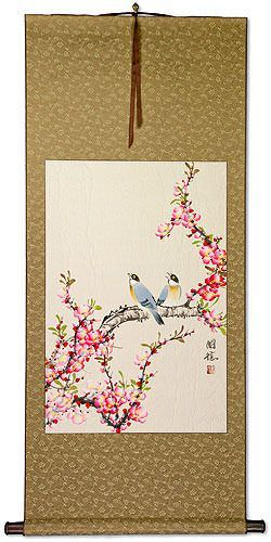 Birds and Bright Red-Pink Plum Blossom Wall Scroll