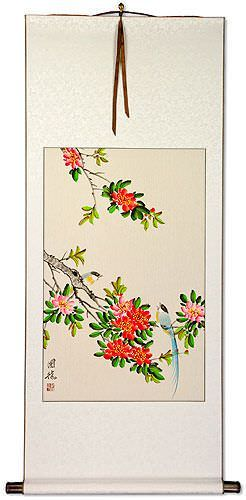 Bird and Flower Chinese Scroll