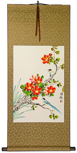Blue Birds an Orange Flowers Wall Scroll