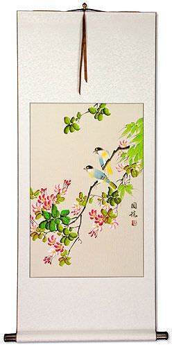 Bird and Flower Chinese Wall Scroll