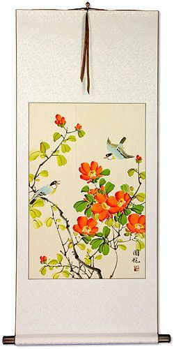 Birds and Flowers Wall Scroll