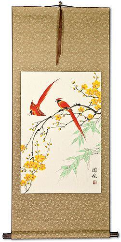 Bird and Flower Asian Wall Scroll