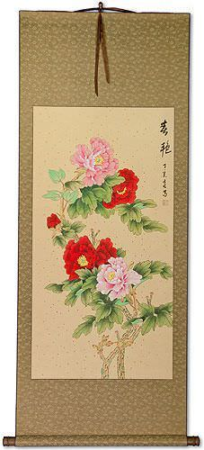 Huge Peony Flowers Wall Scroll